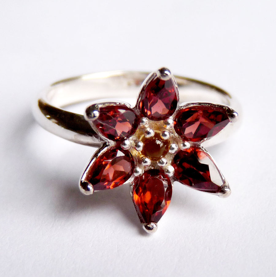 Small Garnet Flower Ring - Joy Everley Fine Jewellers, London