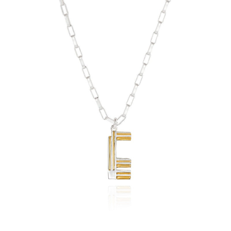 Saxony E Initial Necklace