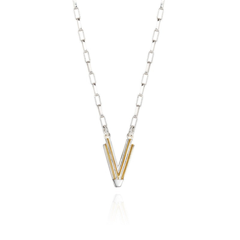 Saxony V Initial Necklace