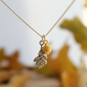 Small Vermeil Acorn and Oak Leaf Necklace - Joy Everley Fine Jewellers, London