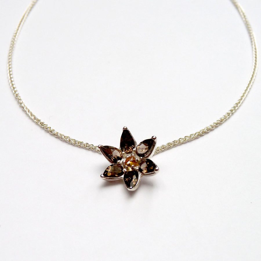 Smokey Quartz Flower Necklace - Joy Everley Fine Jewellers, London