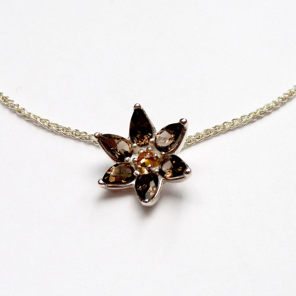 Smokey Quartz Flower Necklace