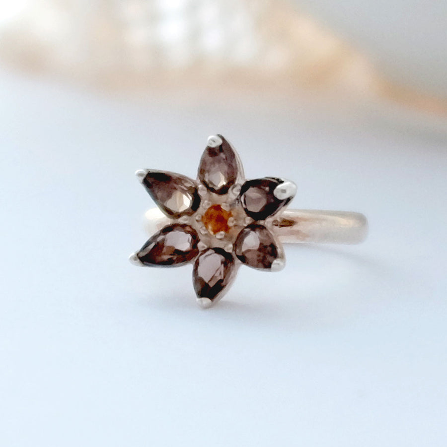 Small Smokey Quartz Flower Ring - Joy Everley Fine Jewellers, London