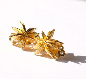 Vermeil Star Anise Clip-on Ear Studs - Joy Everley Fine Jewellers, London