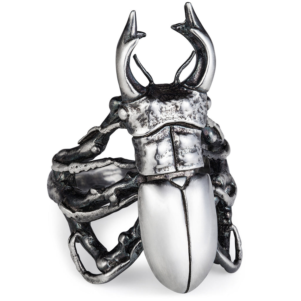 Dark Silver Stag Beetle Ring