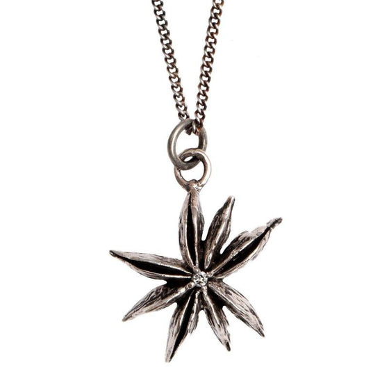 Silver star anise pendant necklace with diamond
