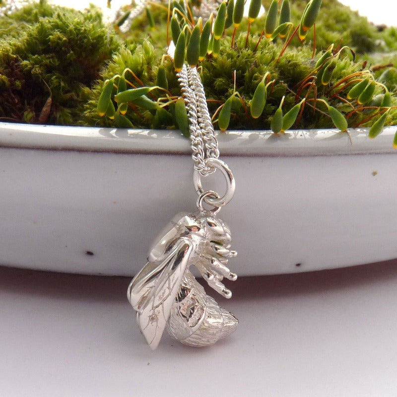Large Silver Bee Necklace
