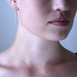 Silver Birch Drop Earrings on Body
