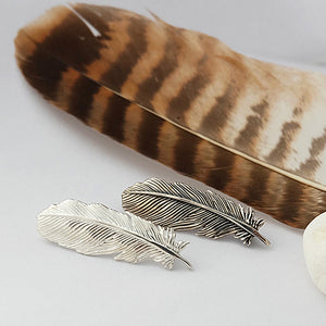 Silver and dark silver Buzzard Feather Brooch by Joy Everley