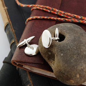 Smooth Pebble Silver Cufflinks by Joy Everley