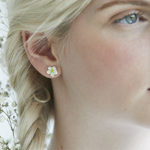 strawberry flower ear studs by Joy Everley