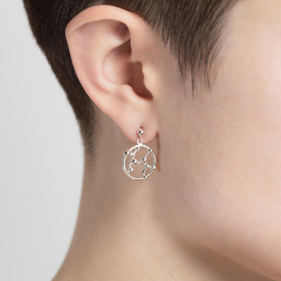 Aquarius Astrology Drop Studs - Joy Everley Fine Jewellers, London