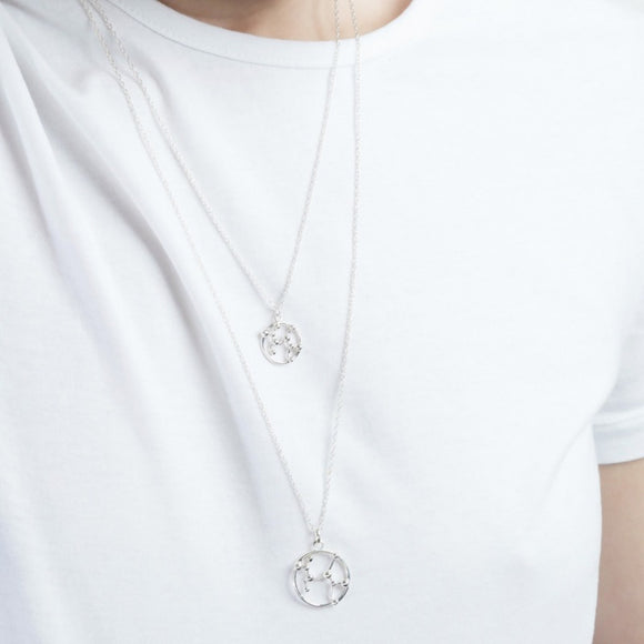 Aquarius Silver Astrology Necklace - Joy Everley Fine Jewellers, London
