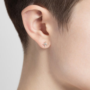 Compass Star Stud Silver Earrings by Yasmin Everley