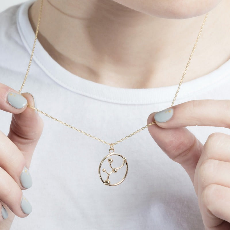 Solid Gold Aquarius Astrology Necklace