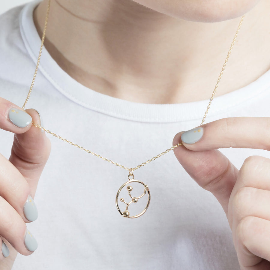 Solid Gold Cancer Astrology Necklace