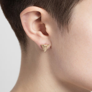 Ray V Solid Gold Ear Studs by Yasmin Everley