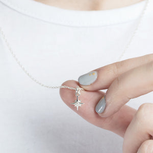 Small Silver Compass Star Necklace by Yasmin Everley