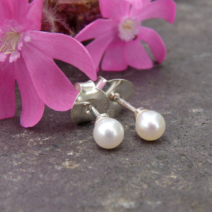 Tiny Pearl Ear Studs - Joy Everley Fine Jewellers, London