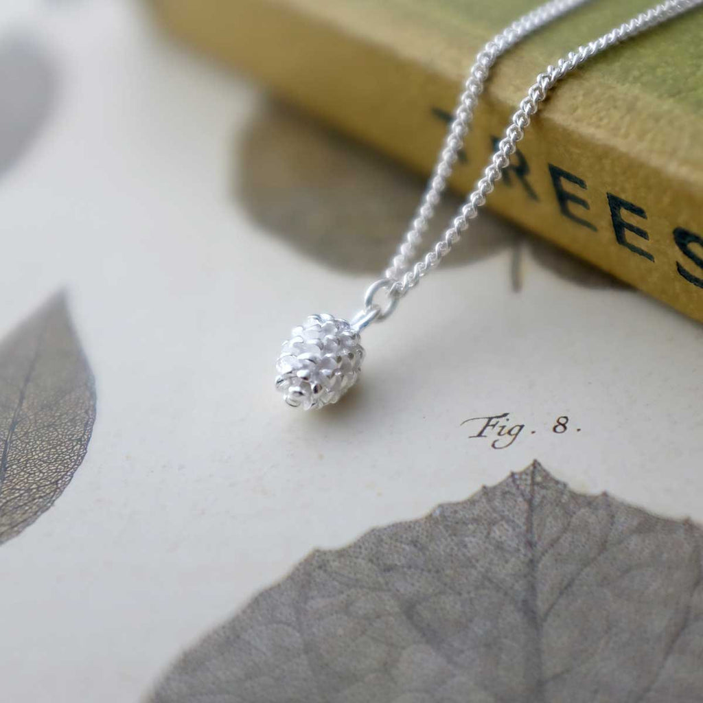 Tiny Silver Pinecone Necklace