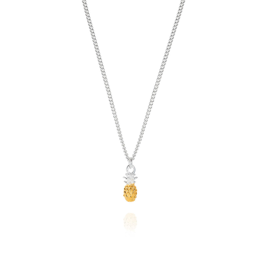 Tiny Vermeil and Silver Pineapple Necklace by Joy Everley