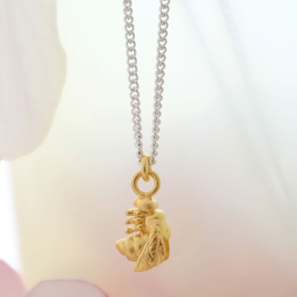 Tiny Golden Bee Necklace