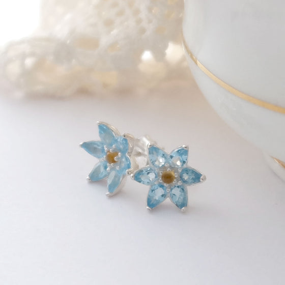 Topaz Flower Ear Studs