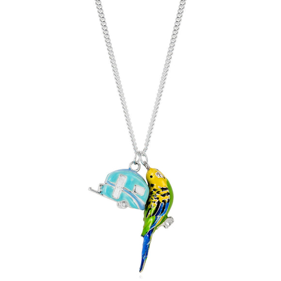 Forever Yours Betty Wears Budgerigar and Enamelled Caravan Charm