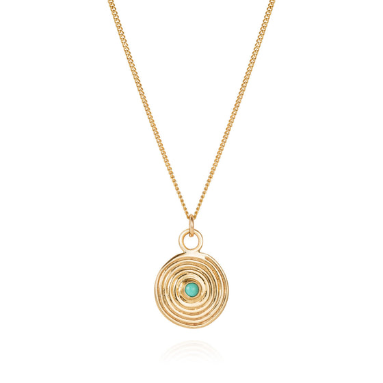 Gold Spiral Necklace with Turquoise