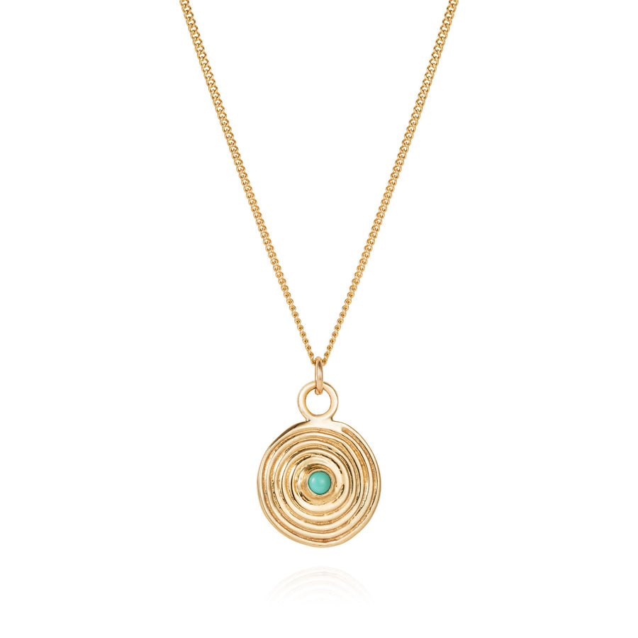 Gold Spiral Necklace with Turquoise - Joy Everley Fine Jewellers, London