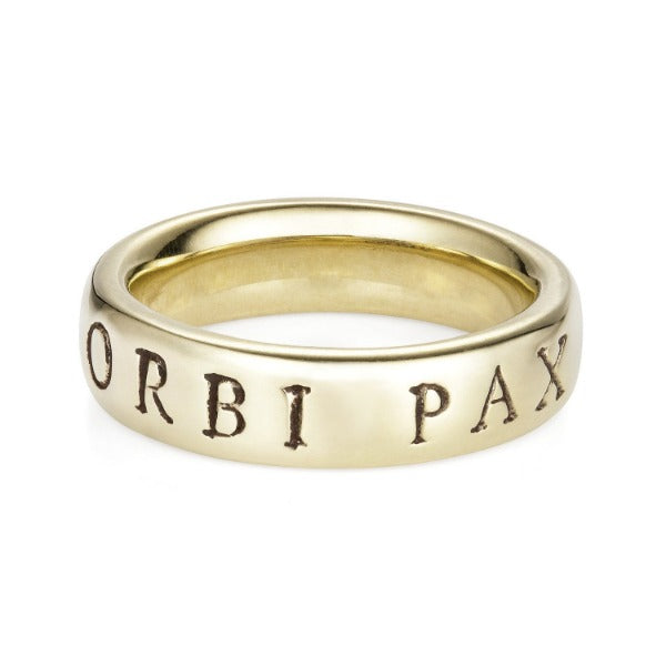Latin White Gold 'Urbi Et Orbi Pax' Ring - Joy Everley Fine Jewellers, London
