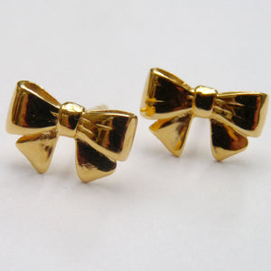 Vermeil Bow Ear Studs - Joy Everley Fine Jewellers, London