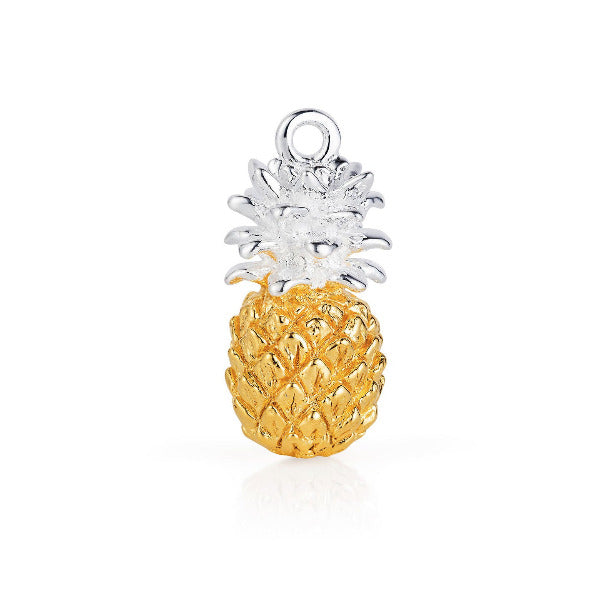Gold Vermeil pineapple charm with contrasting silver leaves