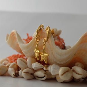Golden Seahorse & Starfish Earrings by Joy Everley