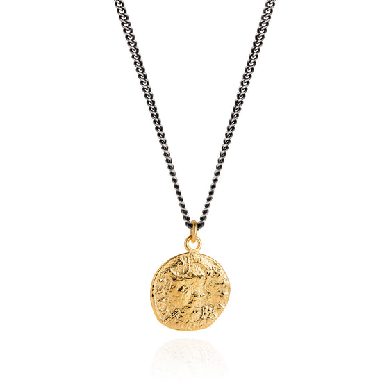 Vermeil Roman Coin and Oxidised Necklace