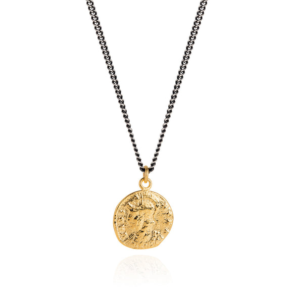 Vermeil Roman Coin and Oxidised Necklace - Joy Everley Fine Jewellers, London