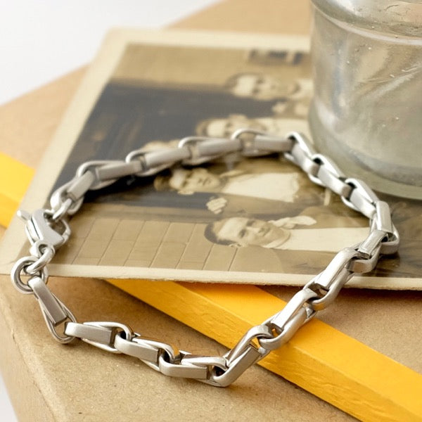White Gold Anchor Chain Bracelet by Joy Everley