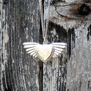 Silver Winged Heart Necklace by Joy Everley