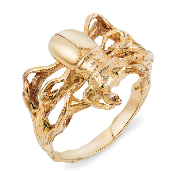 Gold Little Stag Beetle Ring - Joy Everley Fine Jewellers, London