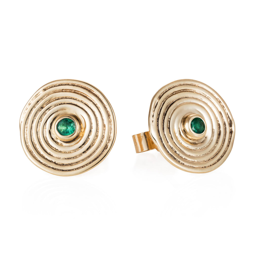 9ct yellow gold spiral stud earrings with emerald