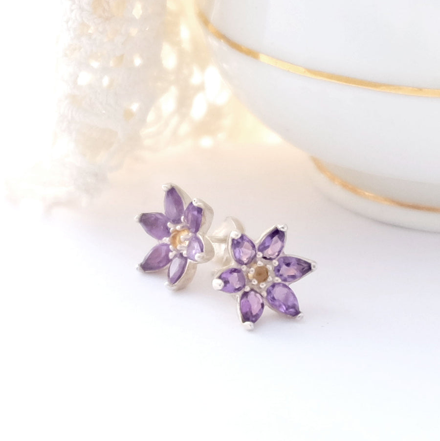 Amethyst Flower Ear Studs - Joy Everley Fine Jewellers, London