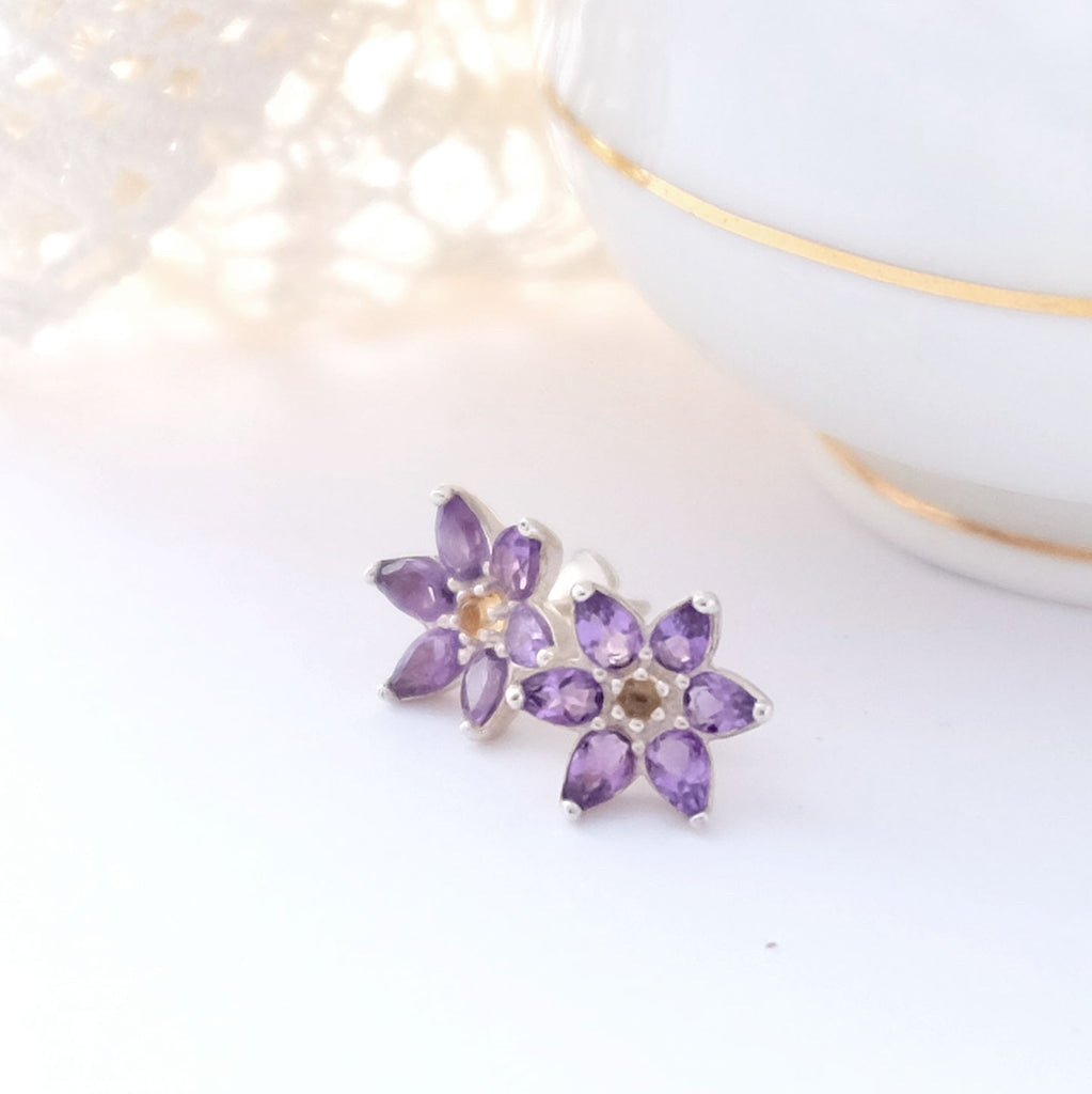 Amethyst Flower Ear Studs