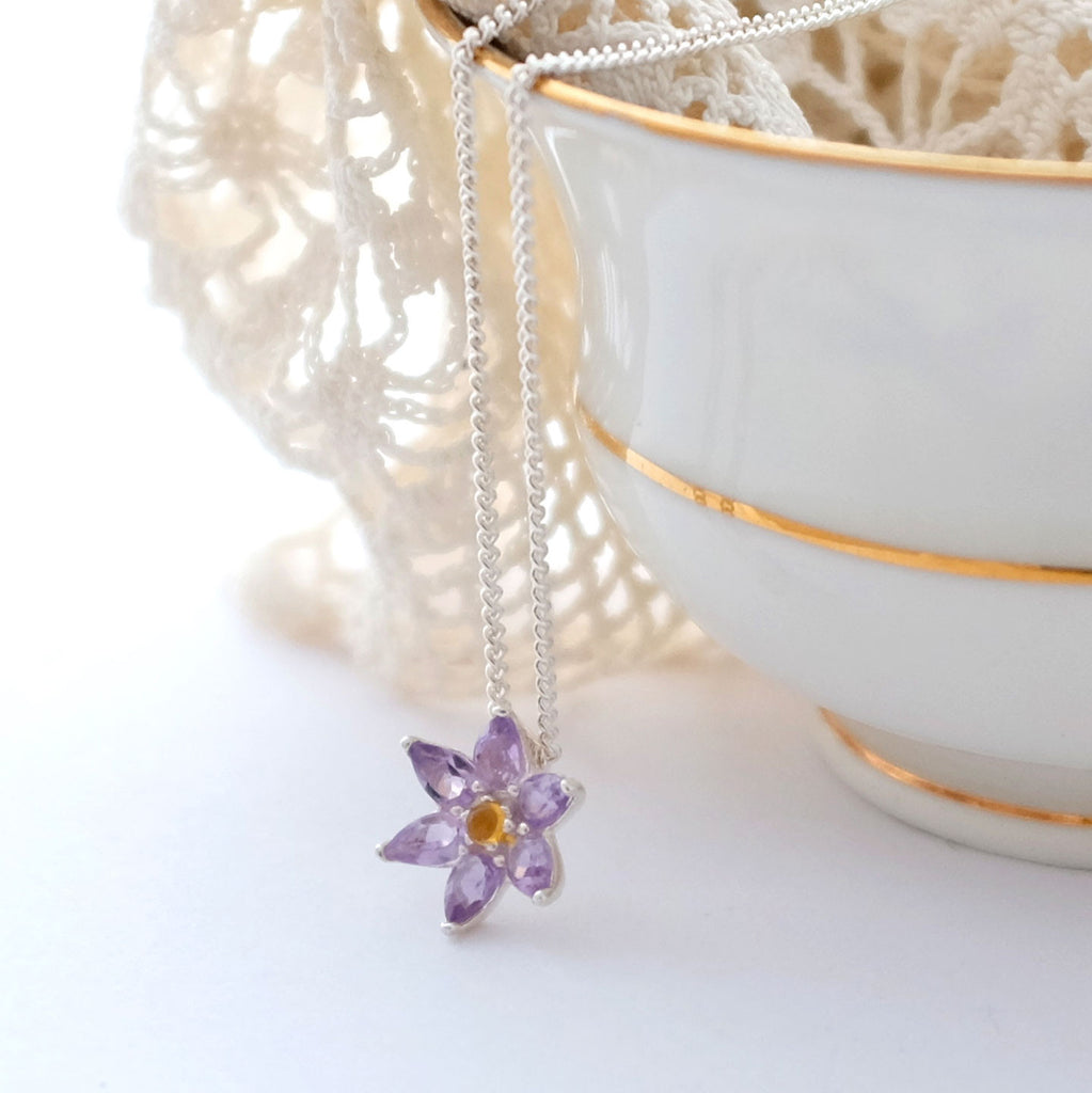 Front view of Silver and Amethyst Flower Necklace