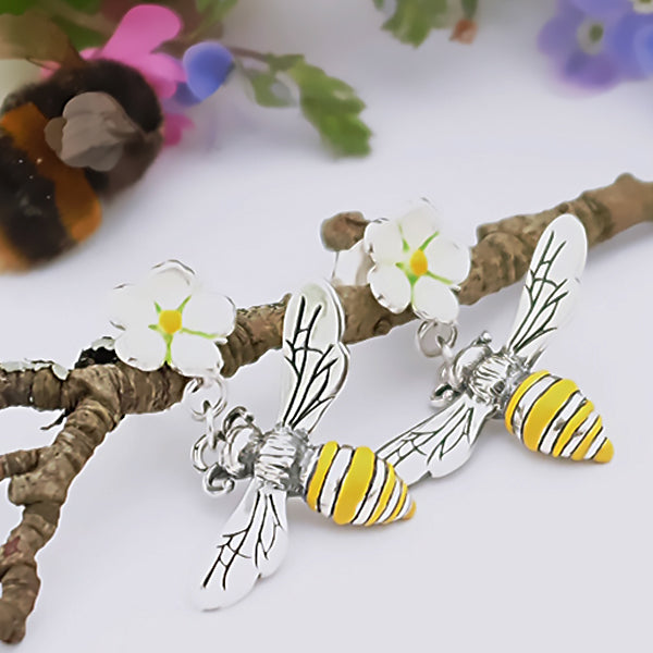 Honey Bee and Strawberry Flower Silver Earrings by Joy Everley