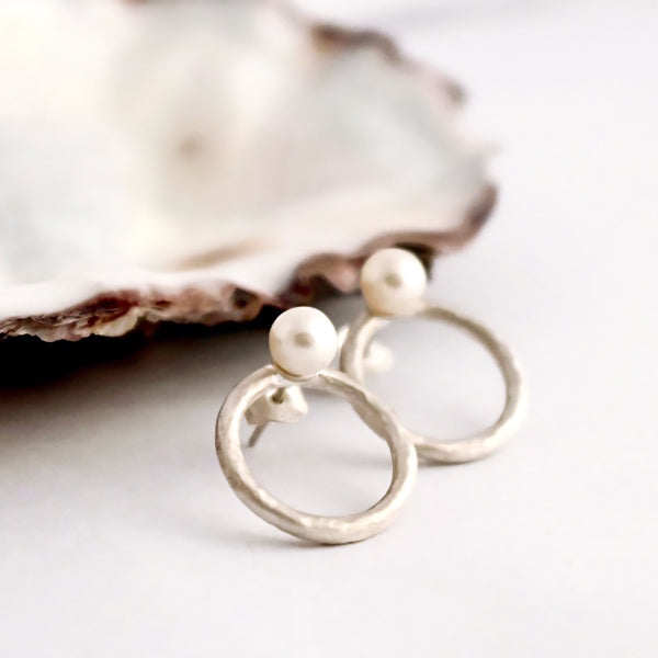 Birch Silver Hoops with Pearls by Joy Everley