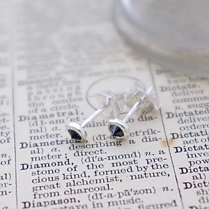 Inverted Black Diamond Silver Ear Studs by Joy Everley