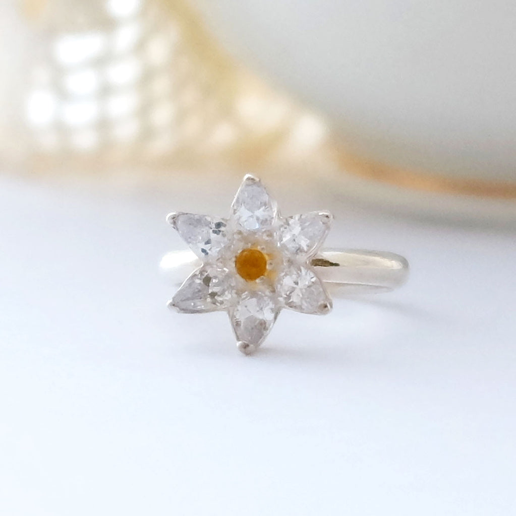 Small Cubic Zirconia Flower Ring