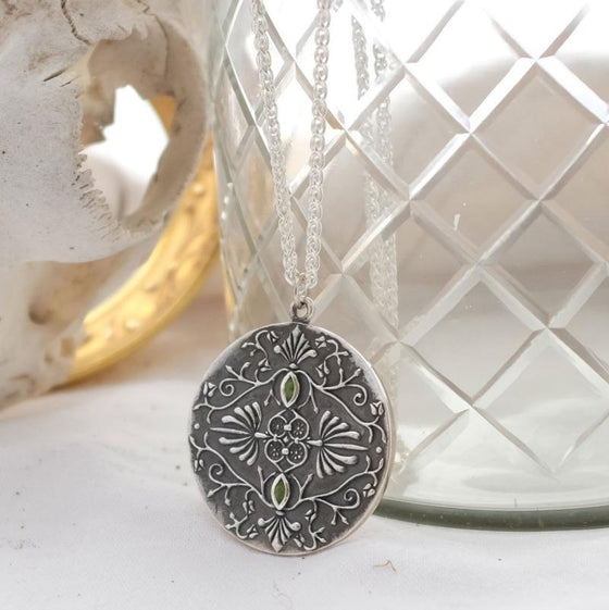 Large Baroque silver pendant necklace