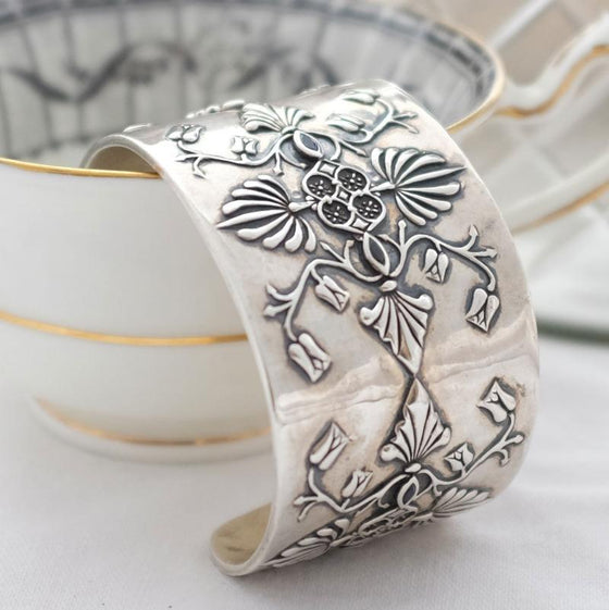 Wide Baroque silver cuff