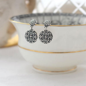 Silver Baroque Drop Ear Studs